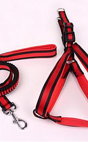 כלבים רתמות / רצועות חוזרמתכווננת / בטיחות פס Red / כחול ניילון / בד