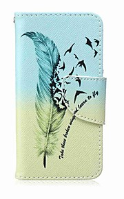 Feather Painting PU Phone Case for apple iTouch 5 6