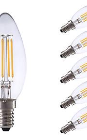 3.5 E14 LED-glødepærer B 4 COB 350/400 lm Varm hvit / Kjølig hvit Dimbar AC 220-240 V 6 stk.