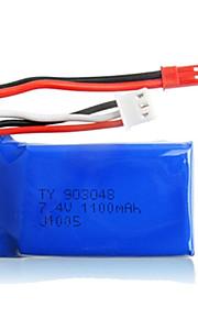 2pcs / pack 7.4V 1100mAh lipo JST wltoys batteri til A949 a959 A969 a979 k929 oprindelige høj hastighed bilbatterier