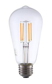 3.5 E26 LED-glødepærer ST19 4 COB 325 lm Varm hvit Dimbar / Dekorativ AC 110-130 V 1 stk.