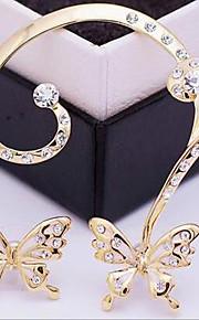 May Polly  Europe delicate butterfly zircon Diamond Fashion ear clip earrings