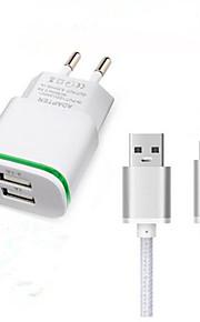 Dual USB штекер ес зарядное устройство адаптер USB 3.1 типа с зарядный кабель для Doogee t3 f7 про дорожное зарядное устройство кабельного