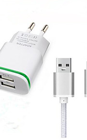 Dual USB-EU-Stecker Wandaufladeeinheitsadapter usb 3.1 Typ-C-Ladekabel für Doogee T3 f7 pro Reiseladegerät Typ c-Ladekabel