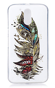 For Motorola MOTO G4 Case Cover Feathers Pattern Luminous TPU Material IMD Process Soft Phone Case