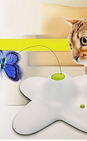 Brinquedo Para Gato Brinquedos para Animais Interativo Brinquedo de Provocação Borboleta Electrónico Branco Plástico