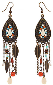 Vintage 2016 Bohemia Colorful Beads Leaves Dangle Earrings Antique Bronze Plated Long Tassel Earrings For Women Boho Jewelry