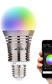 7W E26/E27 LED 스마트 전구 A60(A19) 8 고성능 LED 500 lm 따뜻한 화이트 차가운 화이트 내추럴 화이트 RGB 장식 블루투스 AC 100-240 V 1개
