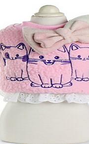개 코트 화이트 핑크 그레이 강아지 의류 겨울 만화 귀여운