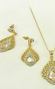 May Polly Hollow carved whiteminne fashion crystal necklace earrings set