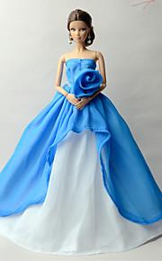 프린세스 드레스 에 대한 바비 인형 화이트 블루 패치 워크 드레스 용 여자의 인형 장난감