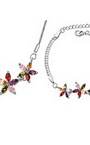 Jewelry 1 Necklace 1 Bracelet AAA Cubic Zirconia Party Zircon 1set Women Multi Color Wedding Gifts
