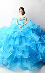 파티/이브닝 드레스 에 대한 바비 인형 블루 솔리드 드레스 용 여자의 인형 장난감