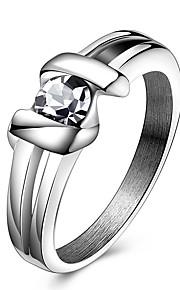 Ringe Krystal Fest Daglig Afslappet Sport Smykker Krystal Titanium Stål Par Statement-ringe Ring 1 Stk.,6 7 8 9 10 Som På Billede