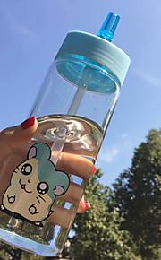 transparante cartoon to-go outdoor drinkware, 500 ml draagbare lekvrije glas sap water nieuwigheid drinkware tumbler