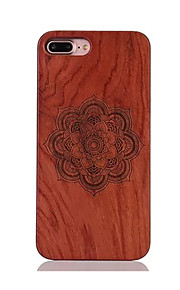 Para Antigolpes En Relieve Diseños Funda Cubierta Trasera Funda Mandala Dura Madera para AppleiPhone 7 Plus iPhone 7 iPhone 6s Plus/6