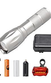 LED Taschenlampen Taschenlampen Sets LED 2000 Lumen 5 Modus Cree XM-L T6 18650 AAA Abblendbar einstellbarer Fokus Kompakte Größe Zoomable-