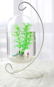 Mini Aquariums Decoration Glass Fish Tank Transparent White Rack