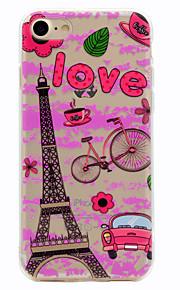 Para Diseños Funda Cubierta Trasera Funda Torre Eiffel Suave TPU para Apple iPhone 7 Plus iPhone 7