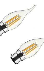 4W B22 E26/E27 LED-gloeilampen CA35 4 COB 400 lm Warm wit Dimbaar AC 220-240 AC 110-130 V 2 stuks