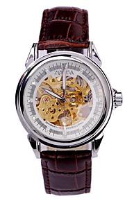 Masculino Relógio Esqueleto relógio mecânico Automático - da corda automáticamente Gravação Oca PU Banda Legal Casual Marrom Marron