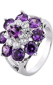 Ringe Blomstformet Blomster Mode Personaliseret Euro-Amerikansk Daglig Afslappet Smykker Zirkonium Plastik Guldbelagt Ring 1 Stk.,6 7 8 9