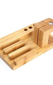2 i en bambu laddning hantverk mobiltelefonhållare för Apple Watch klocka telefon stativfästet