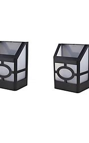 2stk 2led ledet solenergi lys vanntett IP65 lyssensor utelys sti korridor vegg lampe spotbelysning ledet solenergi lampe
