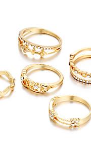 Ringe Andre Unikt design Geometrisk Mode Yndig Fest Speciel Lejlighed Daglig Afslappet Smykker Plastik Ring 1 Sæt,En størrelseSølv Gul