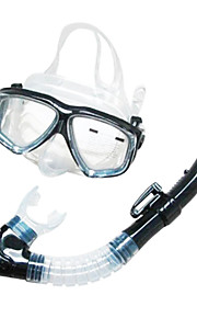 Snorkel Set Diving Masks Snorkeling Packages Snorkels Swim Mask Goggle Dry Top Diving / Snorkeling Glass silicone Yellow Black-SBART