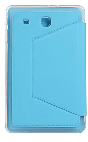 For Samsung Tab E 9.6 Card Holder Shockproof Auto Sleep/Wake Case Full Body Case Solid Color Soft TPU