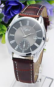 Masculino Mulheres Relógio de Moda Quartzo Couro Banda Casual Marrom Branco Preto Marron