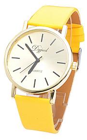 Unissex Relógio de Moda Quartzo Couro Banda Casual Marrom Verde Amarelo Amarelo Marron Verde