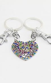 Schlüsselanhänger Herzförmig Schlüsselanhänger Weiß Rosa Marinenblau Metall