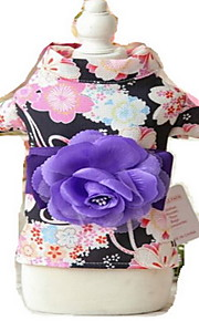Dog Kimono Tuxedo Dog Clothes Summer Flower Cute Birthday Wedding Cosplay New Year's Black Blushing Pink