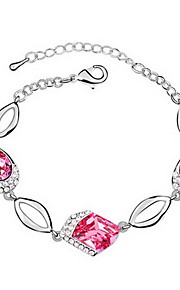 Dame Kæde & Lænkearmbånd Smykker Venskab Mode Krystal Legering Geometrisk form Rød Lys pink Lyseblå Smykker For Fest Fødselsdag 1 Stk.