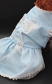 개 드레스 강아지 의류 여름 꽃장식 귀여운 캐쥬얼/데일리 핑크 밝은 블루