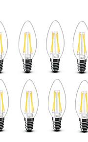 3.5 E14 LED-glødepærer C35 4 COB 400 lm Varm hvit Dekorativ AC220 AC230 AC240 V 8 stk