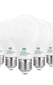 5W E26/E27 LED-globepærer 10 SMD 2835 400-500 lm Varm hvit Hvit Dekorativ AC100-240 V 5 stk.