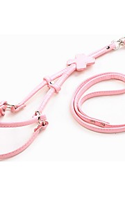 PU Leather Dog Harness With Leash Pets Chest Strap Crystal Bone 120cm Neck 30-60cm