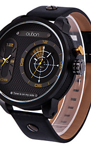 Masculino Relógio Esportivo Relógio de Moda Quartzo Couro Legitimo Banda Preta
