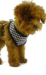 개 하네스 격자 무늬 검은 색 체크 아웃 도어 개 애완 동물을위한 하네스 애완 동물 제품 120cm 가죽 끈 개
