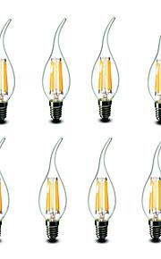 4.5W E14 LED-lysestakepærer CA35 6 COB 500 lm Varm hvit Dekorativ AC 220-240 V 8 stk