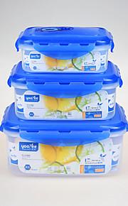 3 Kjøkken Plast Lunsjbokser