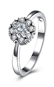 Ring Kvadratisk ZirconiumEnkelt design Rundt design Unikt design Blomster Hjerte Geometrisk Venskab luksus smykker minimalistisk stil