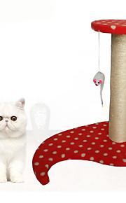 Katteleke Leker til kjæledyr Interaktivt Holdbar Klømatte Træ Plysj Brun Rød Blå Rosa