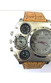 JUBAOLI Masculino Relógio Esportivo Relógio Militar Único Criativo relógio Quartzo Calendário Dois Fusos Horários Couro Banda LegalPreta