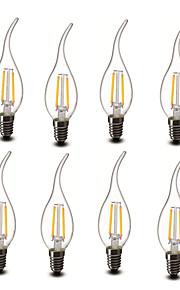 2W E14 LED-lysestakepærer CA35 2 COB 200 lm Varm hvit Dekorativ AC 220-240 V 8 stk