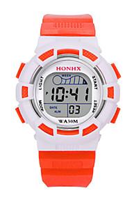 Infantil Relógio Esportivo Relogio digital Chinês Digital Silicone Banda Azul Vermelho Laranja