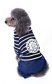 Katzen Hunde Mäntel Overall Hosen Hundekleidung Niedlich Modisch Lässig/Alltäglich Streifen Rot Blau